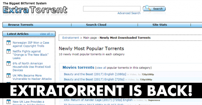 Extratorrent Is Back Again With A New Domain Name
