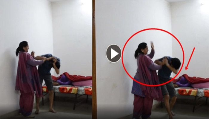 Son Caught with his Girlfriend in front of his Mother