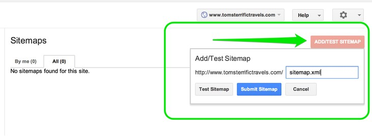 click Submit Sitemap