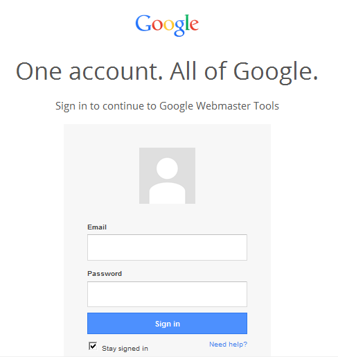 google webmaster tool sign in
